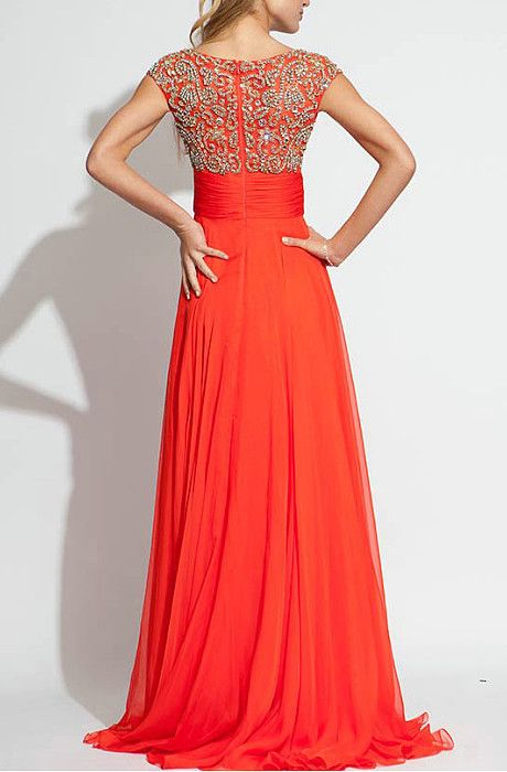 Beaded Tulle Bodice Pick Up Long Chiffon Scoop Prom Dresses