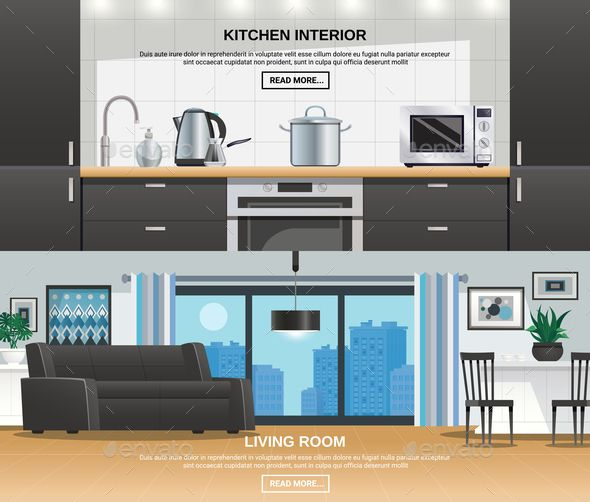Modern Kitchen Interior Design Banners Vector Eps Vector