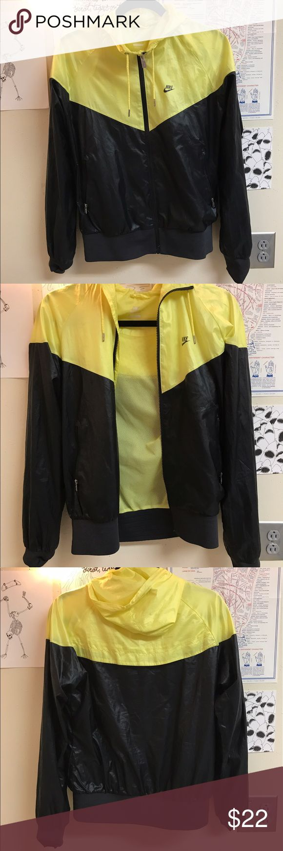 Black & Yellow Nike Windrunner jacket Good condition! I just don't wear it anymore.  Nike windbreaker jacket, silver metal zippers, comfortable, stylish, breathable and water resistant. Smoke free home. Open to offers!! Nike Jackets & Coats