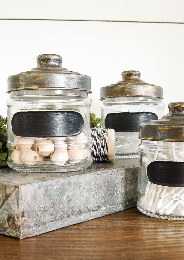 An easy way to turn simple Dollar Tree jars into the perfect industrial storage!