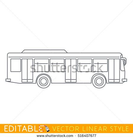 City bus. Editable outline sketch icon.