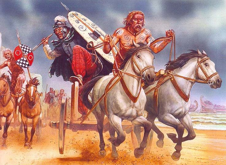 Celtic chariots - art by Peter Dennis