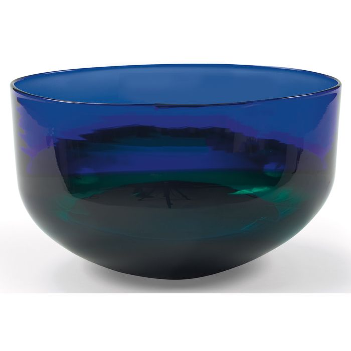 "Rare Timo Sarpaneva ""Kotilo"" bowl, by Venini & Co., Italy, 1992, heavy form in sapphire blue, green and tea-colored glass"