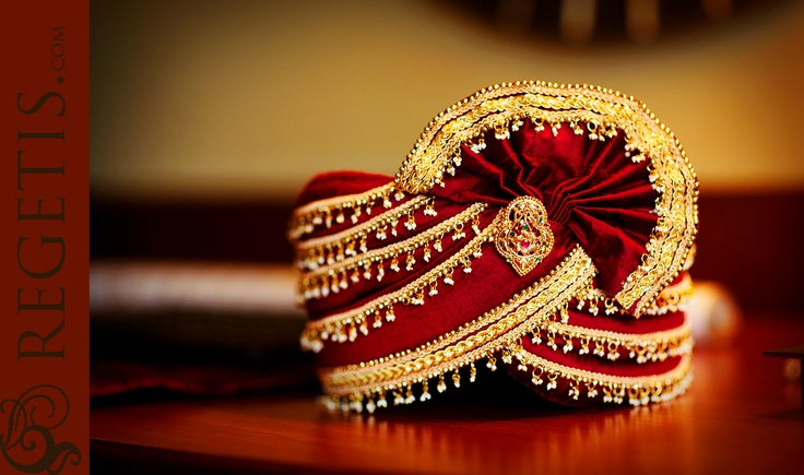 turban worn by the groom during the wedding. is a sign of respect.