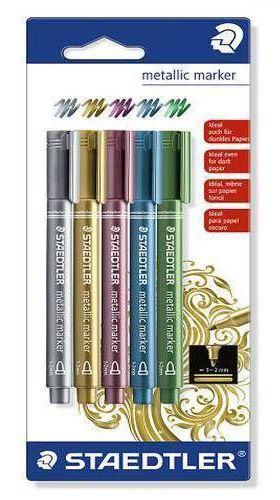 Zestaw 5 metalicznych markerów Staedtler 1-2mm - Sklep plastyczny - szał dla plastyków