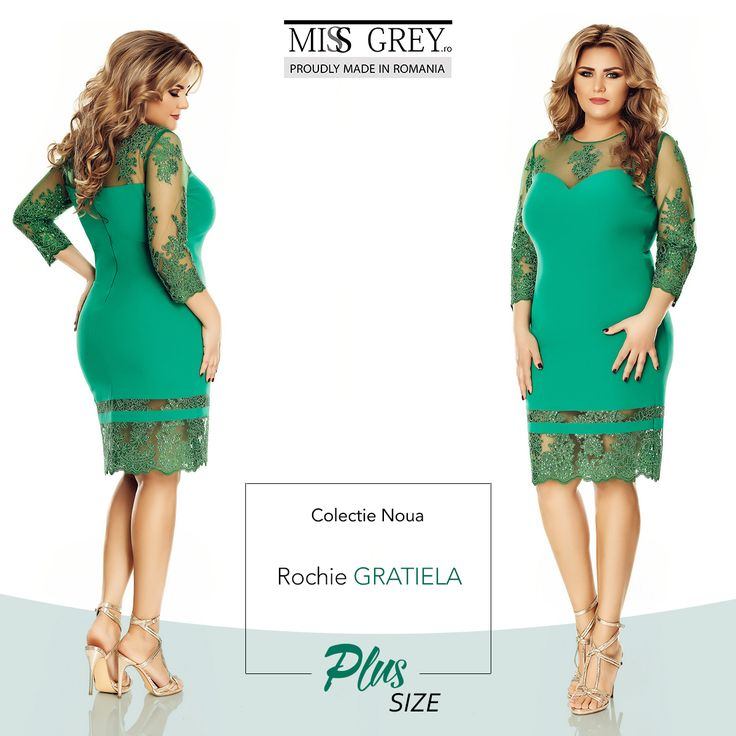 Look amazing in any occasion wearing the green Gratiela Plus Size dress in gorgeous emerald green shades.