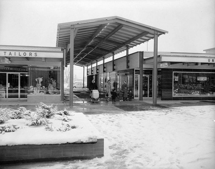 Cloverdale Mall, former mod outdoor mall (still around but an indoor mall with not much style). c. 1960