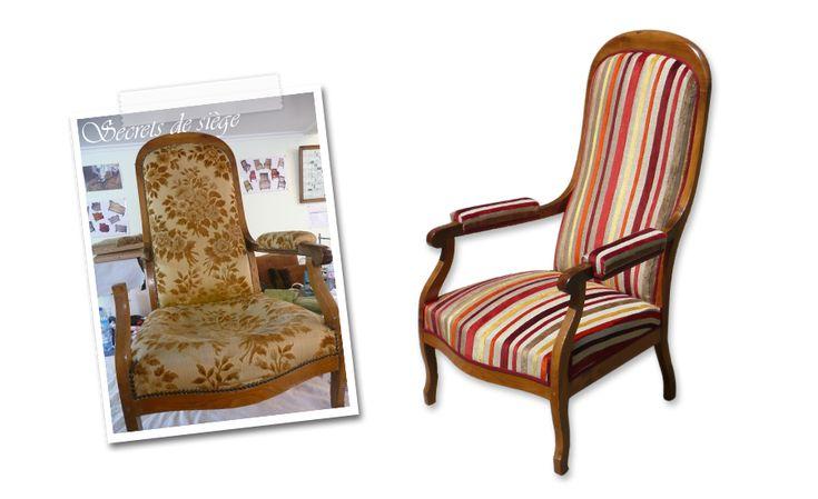Atelier secrets de si ge fauteuil voltaire avec un tissu en couleurs et rayures d 39 une - Tissu pour fauteuil voltaire ...