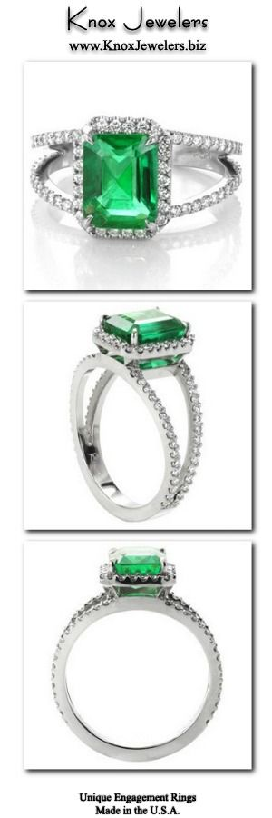 This unique engagement ring design is crafted in 950 Platinum Ruthenium, and presents a stunning 2.20 carat emerald cut center gemstone. The natural Emerald is set within four tapering prongs. The split shank band and halo have a classic look of micro pavé with hand set round cut diamonds. Click on pin for information about ring and our interest free financing.
