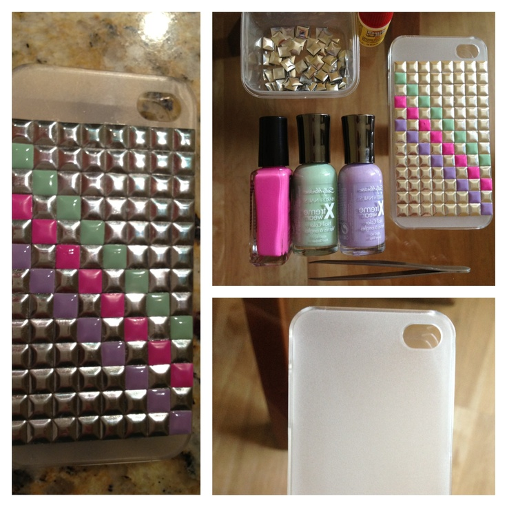 DIY studded iPhone cover: nail polish, favorite colors, studs, Elmer's rubber cement, and and iPhone/ IPod. Put rubber cement on the back off a stud and put onto the case.