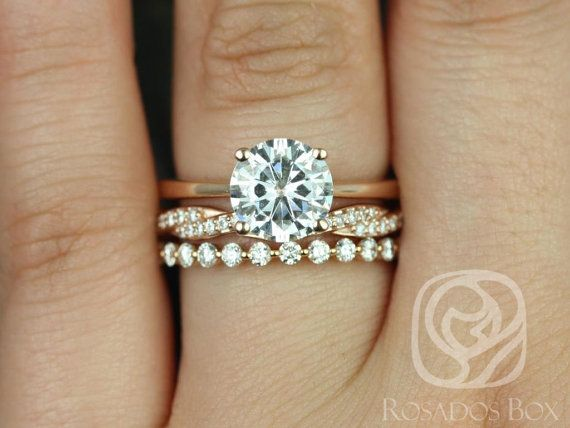 Skinny Flora 8mm,Twyla, & Petite Naomi 14kt FB Moissanite and Diamonds TRIO Wedding Set (Other metals and stone options available)