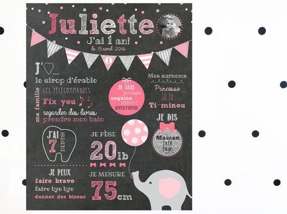Affiche personnalisée 1er anniversaire Éléphant par MOMYboutique