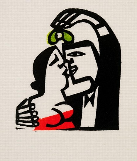 "Willie Rodger ""Wee Kiss (lino print) """