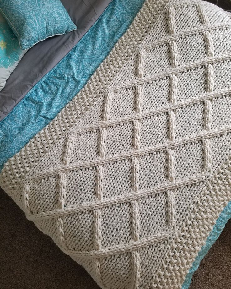 Lattice Cable Knit Blanket