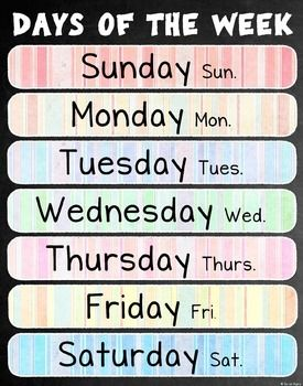 Days of the week poster! Spanish-only and bilingual versions also available.