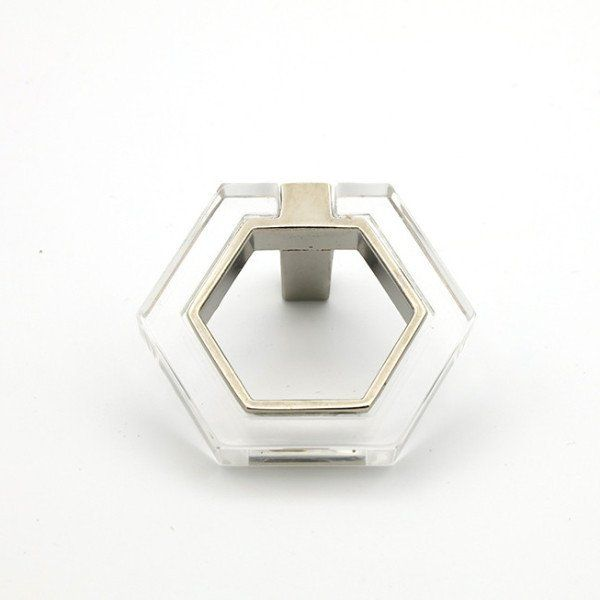 Lucite and Chrome Modern Pull - Lucite Knobs - Cabinet Knob. Forge hardware studio
