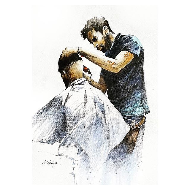 Thomas W Schaller Auf Instagram Haircut Havana Havana Cuba Pencildrawing Watercolorpainting Watercolor Artistsonins Aquarell Malen Aquarell Malvorlagen