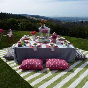 Madeline Weinrib Pink Brooke, Gray Brooke, and Gray Zig Zag Amagansett Pillows, Green Versa Cotton Carpet, and Pink Keri Blockprint Napkins via Lotus Bleu