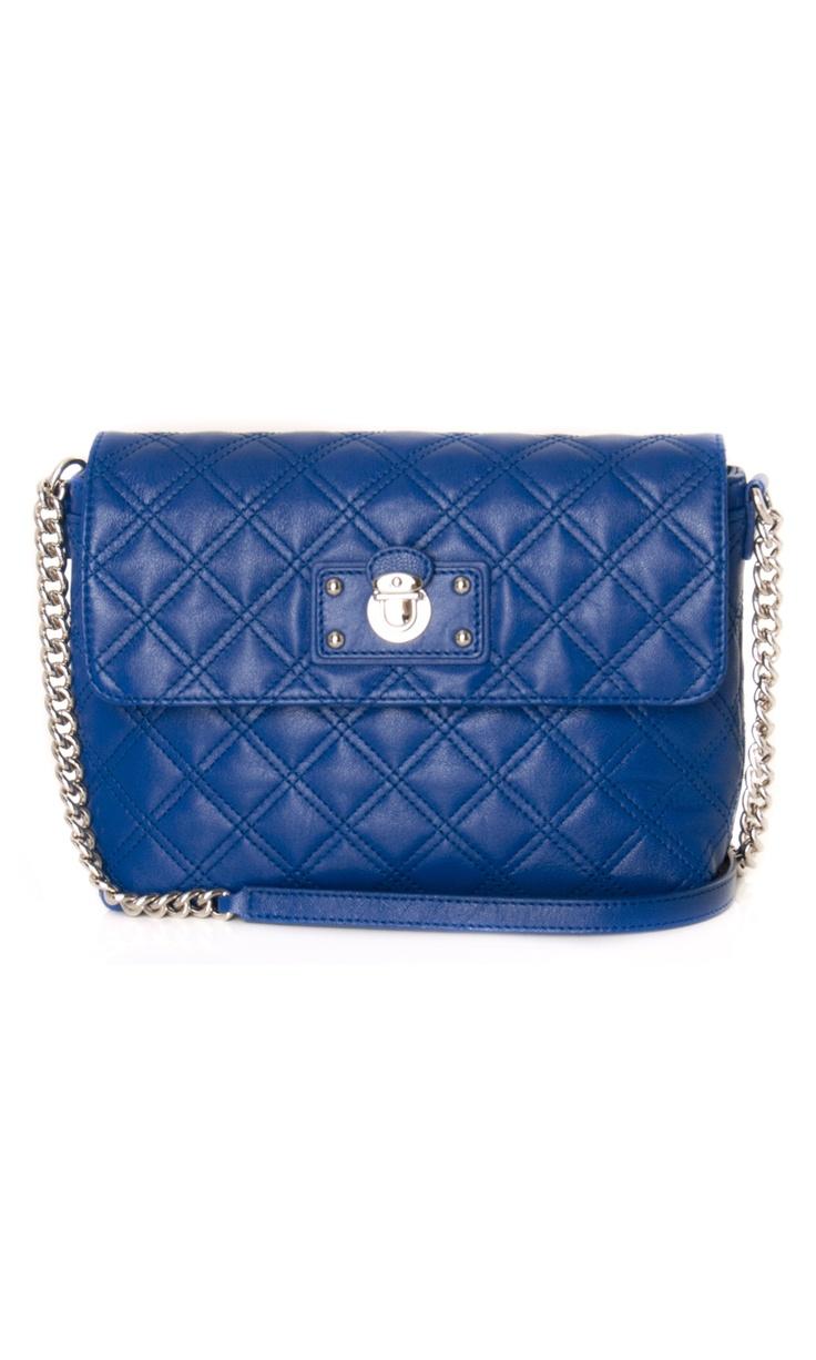 Marc Jacobs Large Single Quilted Leather Blue Shoulder #Bag