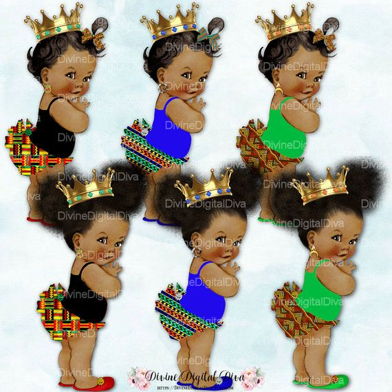 African Princess Gold Crown Africa Kente Print Green Blue