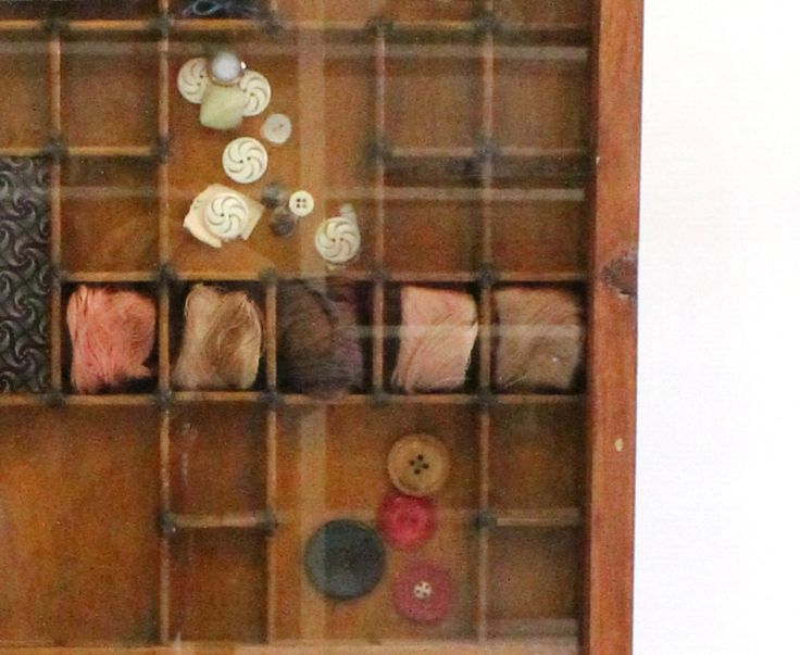 Vintage Haberdashery Display in a gorgeous wooden printer's tray.