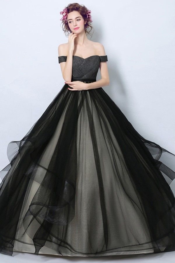 816f2219576a6 Simple Black Corset Tulle Formal Dress Ball Gown With Off Shoulder ...