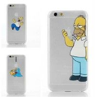 Wish | Creative The Simpsons Homer Bart hot funny cover Transparent grab logo harder cases For iphone6 4.7 inch
