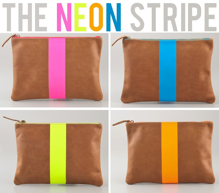 love these neon stripe clutches!