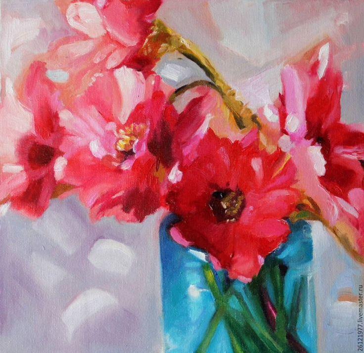"""Купить Картина маслом на холсте """"Цветы"""" 19/19см - комбинированный, живопись для души, миниатюрная живопись"""