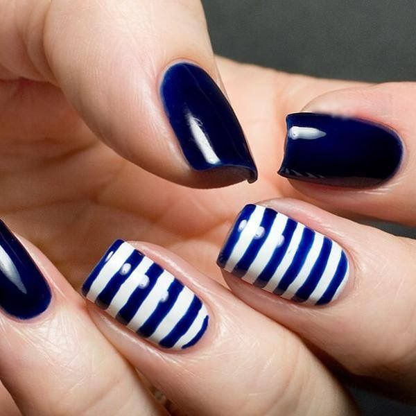 Navy White Stripe Nautical Nails