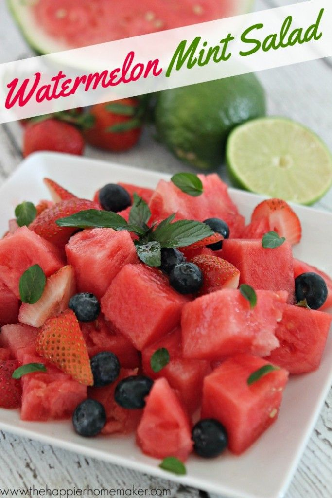 Watermelon, berries and mint with a tangy lime dressing-this looks SO good (and such a healthy dessert!)