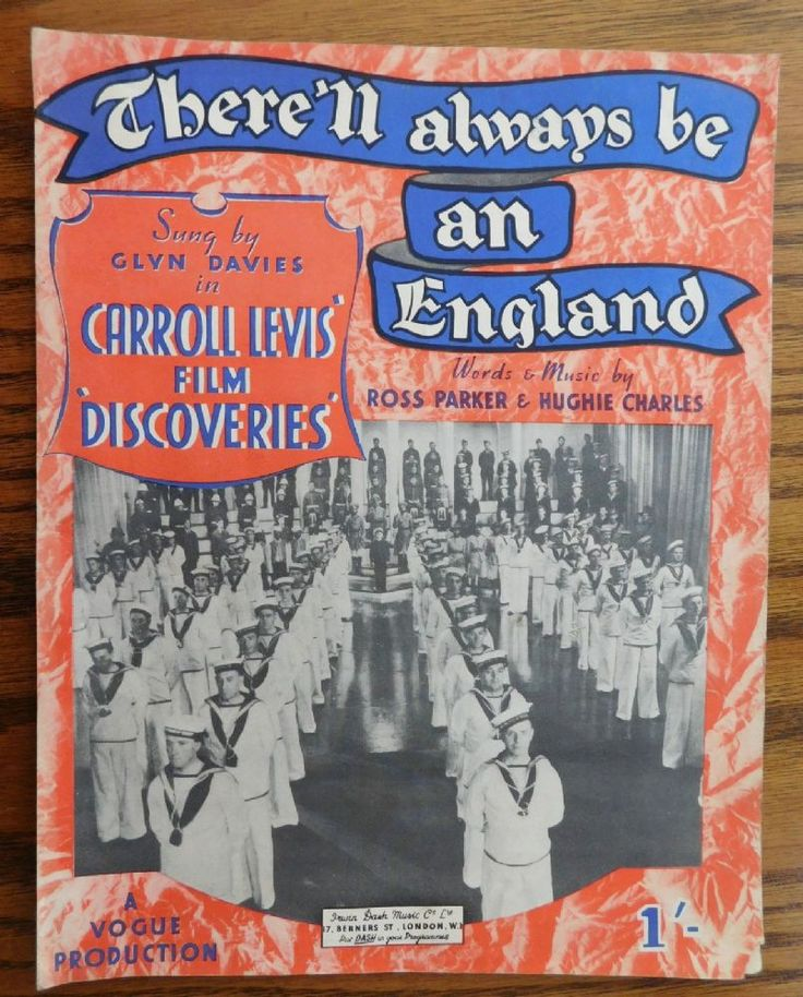 There ll Always be an England copyright 1939 Sheet music for the famous wartime song probably printed in 1939 or the early 1940s Words and music by