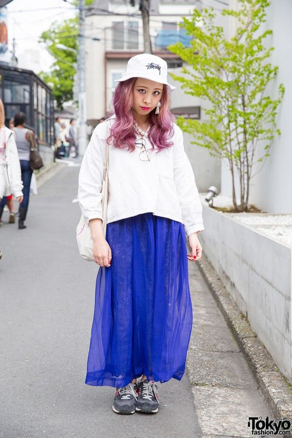 Lilac-Haired Harajuku Girl in Flamingo Resale Fashion, Stussy Bucket Hat & New Balance (Tokyo Fashion, 2015)