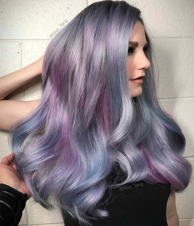 Gray with Pastel | 15 Ombre Hair Color Ideas