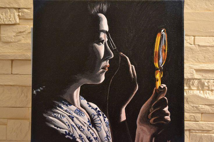 """Tableau, peinture acrylique Japon """"Geisha au miroir doré"""", clair obscur, peinture Opale Isis, sur Etsy de la boutique OpaleIsis sur Etsy"""