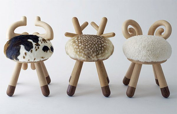 Spotted at ICFF, these Kamina & C Stools designed by Takeshi Sawada are too cute ~ pictures really don't do them justice. They are ADORABLE! And fuzzy and cute and perfectly little kid sized. Coming in Bambi, Sheep, and Cow variations, Bambi is by far the cutest, sheep at a close second… take a peek at the pics on the next page!