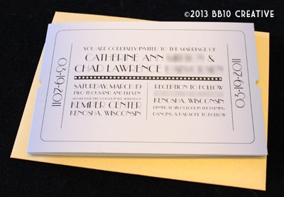 Blue And Yellow Gold Movie Ticket Wedding Invitations