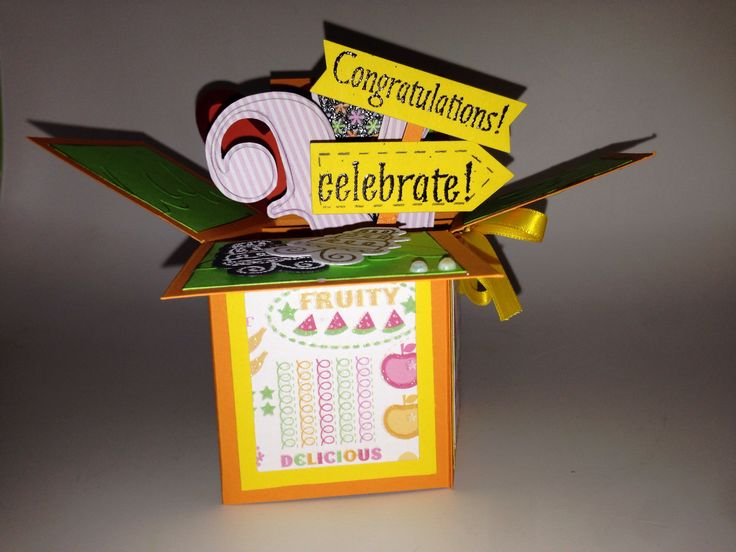 Celebrate card in a box ~ handmade for a special day