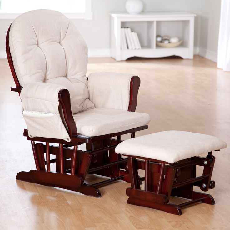 Storkcraft Bowback Glider and Ottoman Set - Cherry/Beige - Gliders & Nursery Rockers at Hayneedle