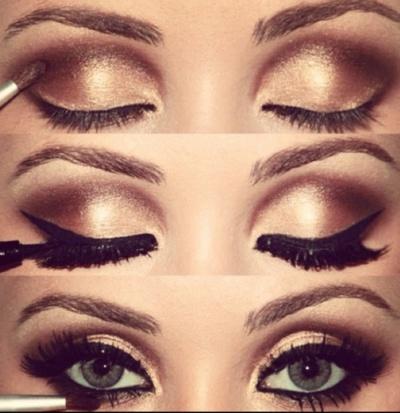 Gold smoky eye with liquid eyeliner