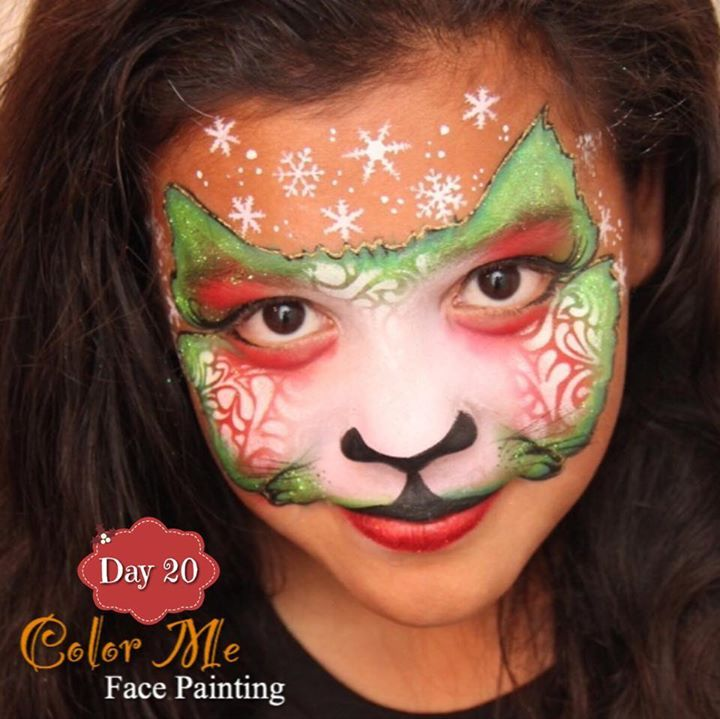 25 Days of Christmas. Christmas cat face painting - Color Me Face Painting