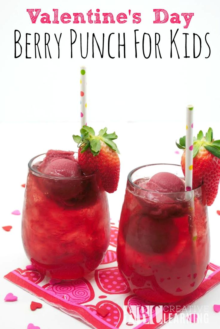 Valentine's Day Berry Punch For Kids! A fun sweet drink made with fruit perfect for sharing with family and friends on Valentine's Day! -abccreativelearning.com