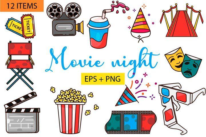 Movie Night Clipart Flat Vector Png Eps Film Cinema Clipart 987915 Illustrations Design Bundles Clip Art Alphabet Illustration Illustration Design