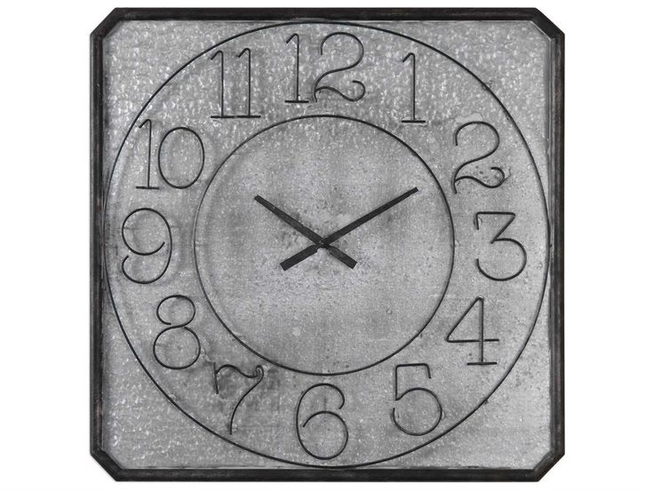Uttermost Grace Feyock Dominic Galvanized Metal Wall Clock | UT06436