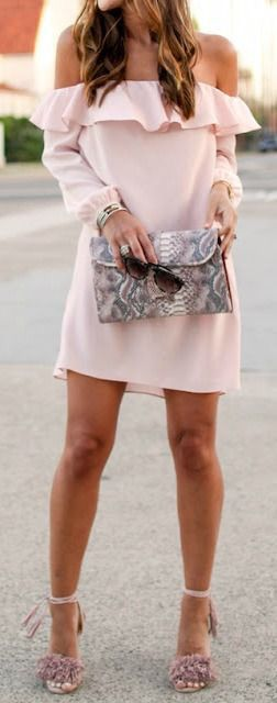 Blush off the shoulder dress.