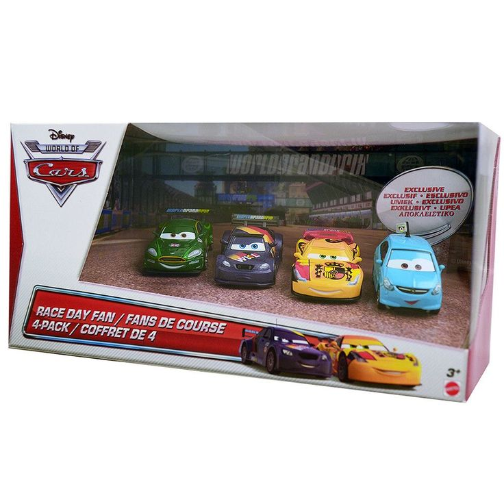 Disney Cars Race Day Fan 4-Pack Die-Cast [Alloy Hemberger, Max Schnell, Nigel Gearsley, Miguel Camino]