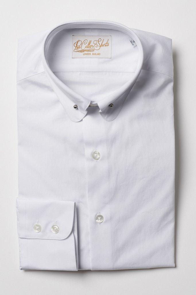 Mens White Pin Collar Shirt Penny Collar