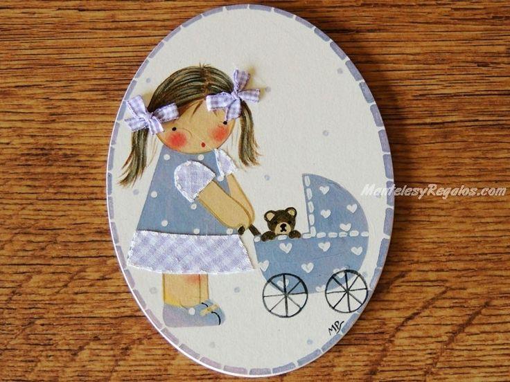 Placa infantil para puerta modelo niña con cochecito de bebé y osito. Está fabricada con madera y hecha a mano. http://www.mantelesyregalos.com/placas-para-puertas/3116-placa-infantil-puerta-nina-cochecito-bebe-y-osito.html