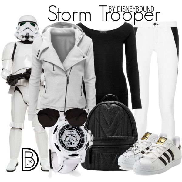 Storm Trooper by leslieakay on Polyvore featuring River Island, rag & bone, adidas Originals, Retrò, Trilogy, disney, disneybound, starwars and disneycharacter