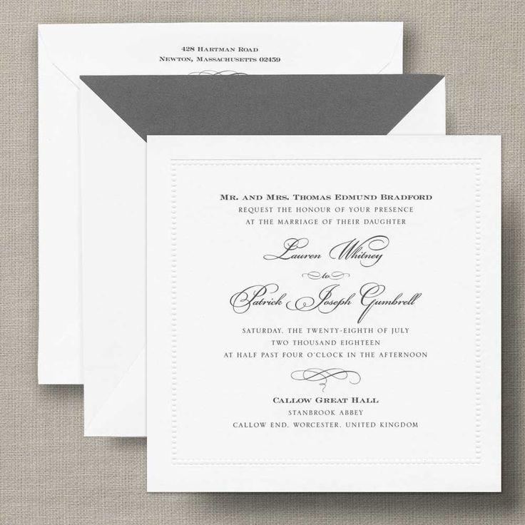 wedding stationery folders%0A White Beaded Border Square Wedding Invitation